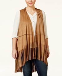 American Rag Plus Size Faux Suede Fringe Only At Macy's Camel