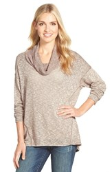 Women's Gibson Semi Sheer Cowl Neck Top Taupe