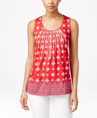 Charter Club Embroidered Tank Top Medallion Print Red Barn