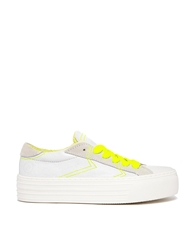 Bronx Leather Low Top Trainers With Neon Yellow Laces Whiteneonyellow