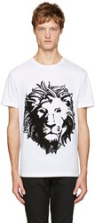 Versus White Embroidered Lion T Shirt