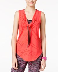 Energie Active Juniors' Diana Cowl Neck Burnout Tank Top Fiery Coral