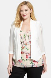 City Chic Plus Size Women's Chiffon Sleeve Blazer Ivory