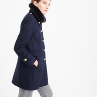 J.Crew Wool Melton Military Coat With Faux Fur Collar