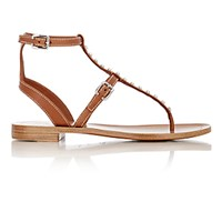 Prada Women's Studded T Strap Gladiator Sandals Nude