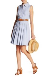 Tahari Belted Shirt Dress Petite Blue