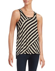 Kensie Striped Knit Tank Top Black White
