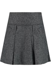 Vince Pleated Wool Blend Mini Skirt Gray