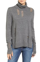Pam And Gela Women's Distressed Turtleneck Sweater