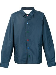 The Elder Statesman Button Up Aviator Jacket Blue