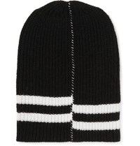 Raf Simons Striped Ribbed Wool Beanie Black