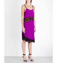 Victoria Beckham Lace Trim Silk Crepe Dress Plum Black