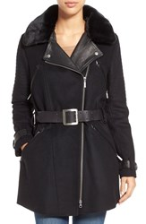 Women's Barbour 'Valve' Wool Blend Trench Coat With Faux Fur Collar