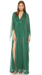 Halston Caftan Gown With Front Hardware Clover Folded Stripe Print