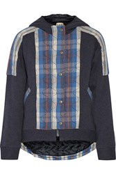 Sea Quilted Cotton Hooded Jacket Blue