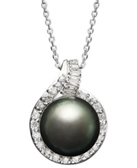 Macy's 14K White Gold Necklace Cultured Tahitian Pearl 12Mm And Diamond 1 2 Ct. T.W. Pendant Gray