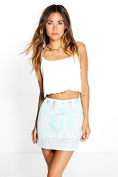 Boohoo Aztec Print Mini Skirt Green