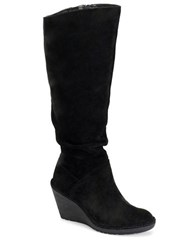 Sofft Calida Slouchy Suede Knee High Wedge Boots Black