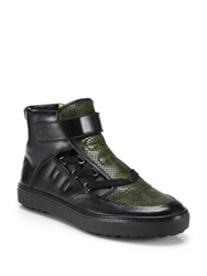 Bally Exotic Python And Leather High Top Hiker Sneakers Black Green