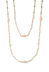 Forever 21 Faux Pearl And Bar Necklace Set Gold Cream