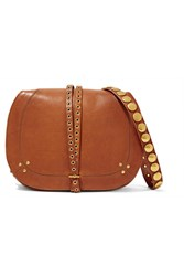 Jerome Dreyfuss Nestor Embellished Leather Shoulder Bag Camel