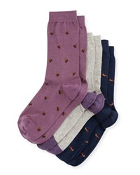 Neiman Marcus Three Pair Wardrobe Sock Set Assorted Navy Purple