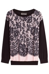 Boutique Moschino Virgin Wool Pullover With Lace Overlay Multicolor