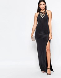 Rare Maxi Dress With Side Split And Embellished Neckline Black
