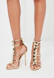 Missguided Gold Caged Heeled Gladiator Sandals