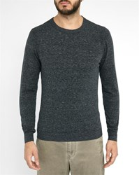 Diesel Mottled Charcoal Maniky Logo Round Neck Sweater Grey