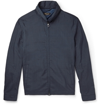 Loro Piana Suede Trimmed Silk Bomber Jacket Blue
