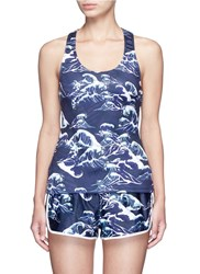 We Are Handsome 'The Cascade' Tidal Wave Print Active Singlet Blue