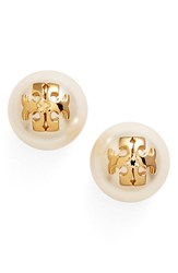 Women's Tory Burch Faux Pearl Logo Stud Earrings Ivory Shiny Gold