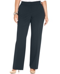 Jm Collection Plus Size Curvy Fit Straight Leg Pants Navy