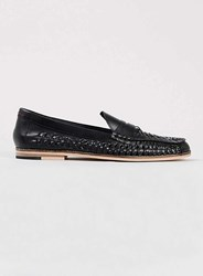 Topman Marne Loafer Black Leather Woven Loafers