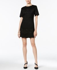 Bar Iii Embroidered Faux Suede Dress Only At Macy's Deep Black