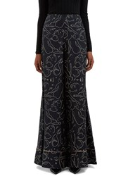 Roksanda Ilincic Oldridge Printed Silk Flared Pants Navy
