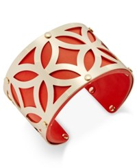Charter Club Gold Tone Filigree Leather Look Open Cuff Bracelet Only At Macy's Orange