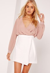 Missguided Paper Bag Waist Wrap Mini Skirt White Cream