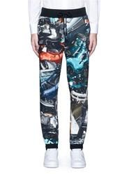 Christopher Kane 'Car Crash' Print Cotton Sweatpants Multi Colour