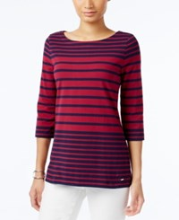 Tommy Hilfiger Lydia Striped Boat Neck Top Peacoat Red Plum
