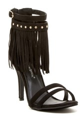 Nature Breeze Robin Fringe High Heel Sandal Black