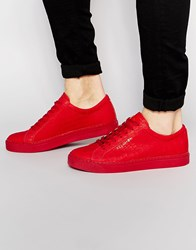Religion Leather Croc Trainers Red