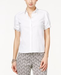 Cece By Cynthia Steffe Bow Trim Short Sleeve Shirt Ultra White