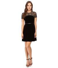 Jessica Simpson Lace And Velvet Combo Dress Black Women's Dress