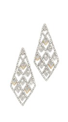 Alexis Bittar Crystal Spiked Lattice Earrings Silver Gold Clear