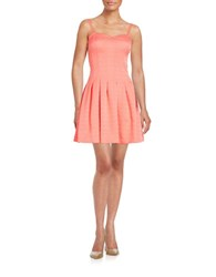 Guess Pleated Fit And Flare Dress Peach