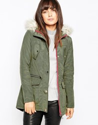 Michelle Keegan Loves Lipsy Parka With Faux Fur Hood 021Green