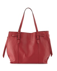 Kooba Olivia Leather Drawstring Tote Bag Red Russian