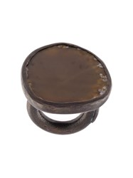 Monies Agate Black Copper Ring Brown